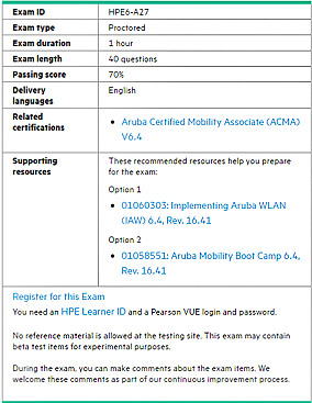 HPE6-A27 certification exam